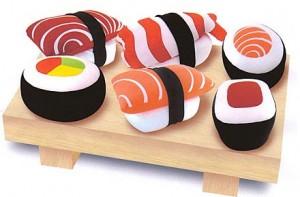 Cojines con forma de sushi