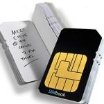 Cuaderno con forma de tarjeta SIM