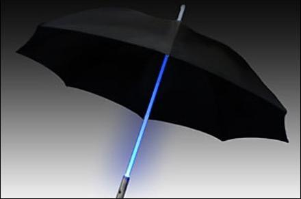 Paraguas con eje luminoso