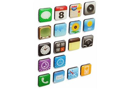 Imanes con la forma de las aplicaciones de iPhone