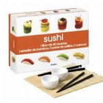 Libro de recetas de sushi con utensilios