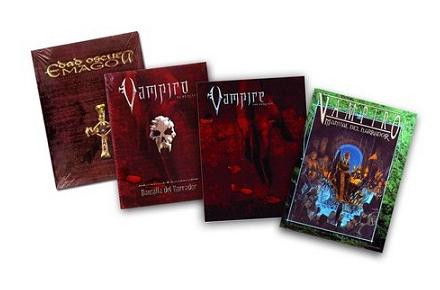 Colección de libros de Vampiro y pantalla
