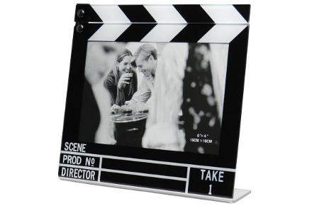 Marco de fotos, con forma de claqueta de cine