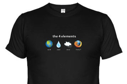 Camiseta friki Los 4 elementos: Earth, Water, Wind, Firefox