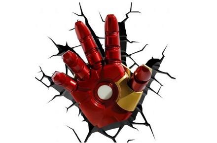 Lámpara 3D de pared mano de Iron Man