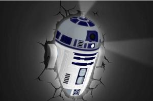 Lámpara 3D con grietas de R2D2