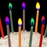 Velas con llamas de colores