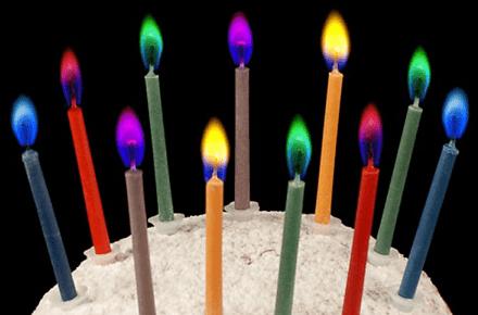 Velas de cumpleaños con llamas de colores