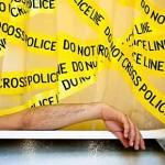 Cortina de baño cordón policial