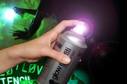 """Spray de graffiti luminoso """"Glow Graffiti"""" para pintar en la oscuridad"""