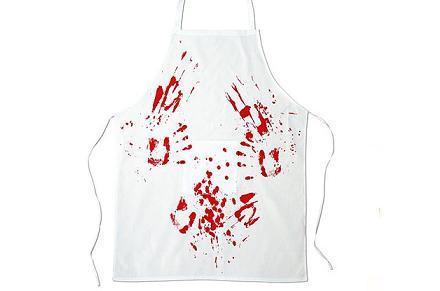 Delantal de cocina sangriento