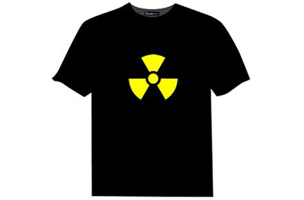 Camiseta luminosa con el símbolo de Radiactividad
