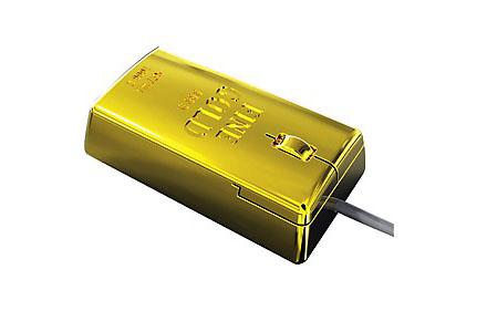 Ratón óptico para PC con forma de lingote de oro