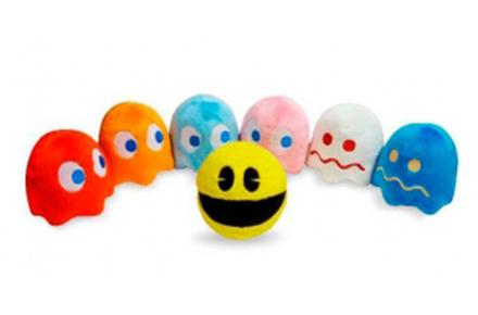 Peluches Pacman, pack del comecocos y 6 fantasmas