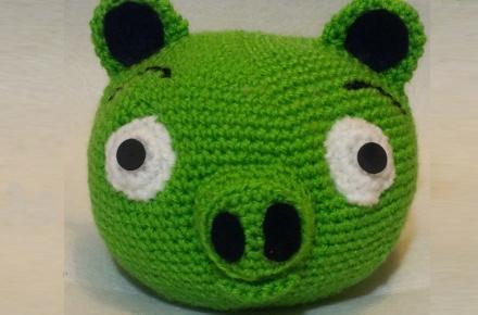 Cerdito de Angry Birds de croché