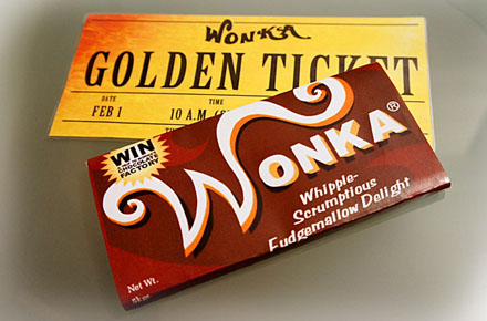 Tabletas de chocolate de la Fábrica de Willy Wonka