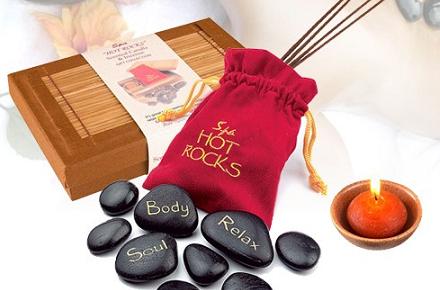 Set de masajes con piedras calientes