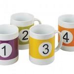 Set 4 Tazas numeradas como bolas de billar