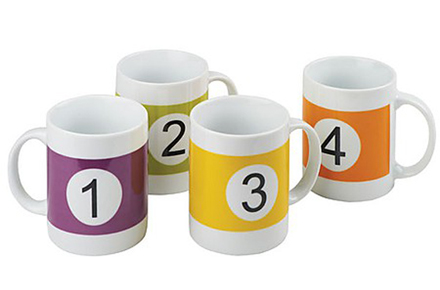 Set de 4 tazas de colores numeradas como las bolas del billar