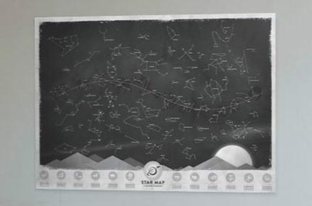Mapas de estrellas que brilla en la oscuridad