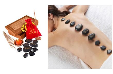 Set de masaje con piedras calientes