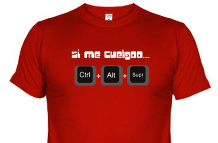 """Camiseta """"Si me cuelgo… Ctrl+Alt+Supr"""""""