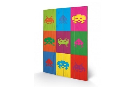 Póster de madera Space Invaders «Pop Art»