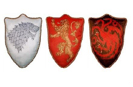 Cojines de Juego de Tronos, casa Stark, Lannister y Targaryen