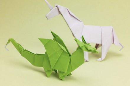 Dragones y otras criaturas fantásticas en Origami